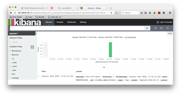 Kibana - Viewing a dummy log event