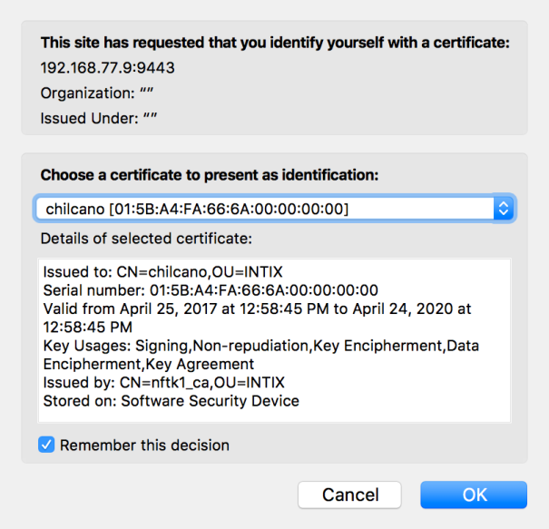 Select the Client Certificate
